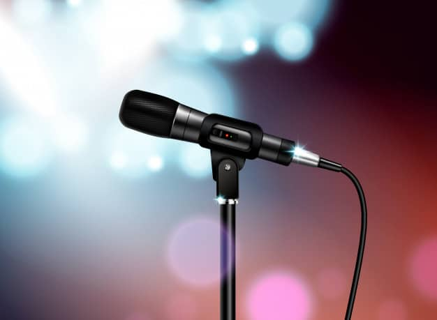 professional-microphone-concert-realistic-composition-with-vocal-mic-image-mounted-stand-with-colourful-blurred-background_1284-32280