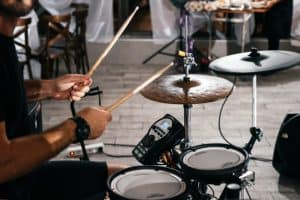 Drummer playing drums on a party